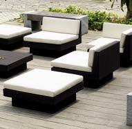 Loungeset Ravenna zwart, witte kussens